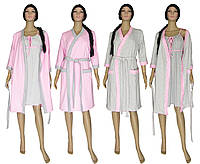 Комплект женский 19008 Amarant Soft Grey&Pink, ночная рубашка с теплым халатом, р.р.42-56