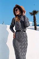 Вязаное длинное платье с высоким воротником и длинным рукавом 40PL108