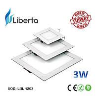 Светодиодная панель встраиваемая квадратная Liberta Турция 3W