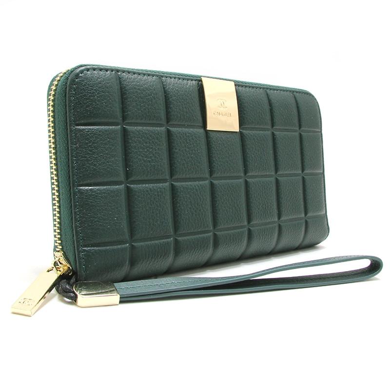 Кошелек клатч женский на змейке кожаный зеленый 60019
