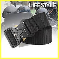 Тактический нейлоновый ремень Tactical Belt 125 см Черный