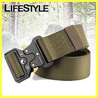 Тактический нейлоновый ремень Tactical Belt 125 см / Армейский ремень Зеленый