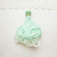 Волосы для кукол волнистые концы в трессах, омбре мята с белым   - 15 см