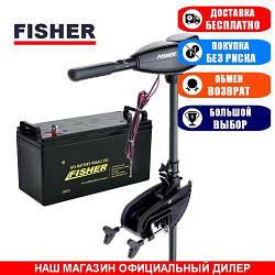 Электромотор для лодки Fisher 55 +GEL АКБ 100a/h. Комплект; (Лодочный электромотор Фишер 55);