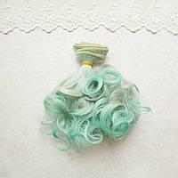 Волосы для кукол волнистые концы в трессах, омбре серый с мятным   - 15 см