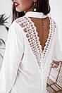 Белая женская шифоновая рубашка с вырезом на спине 68ru285, фото 2