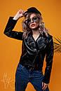 Кожаная черная куртка - косуха с ремешкой по низу 60kr110, фото 2