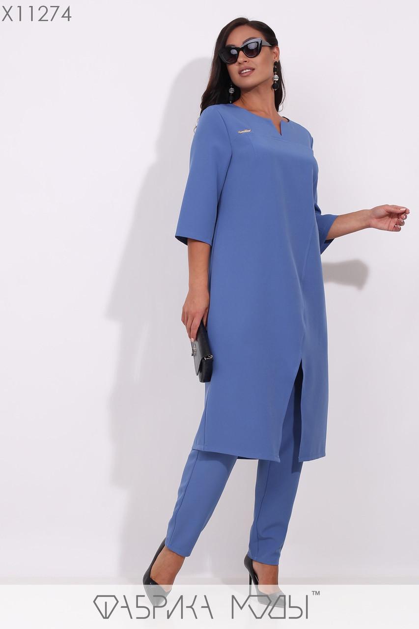 Женский брючный костюм в больших размерах с туникой и прямыми брюками на резинке 1ba181