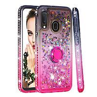 Чехол Fashion Case Градиентный блеск для Samsung A10e/ A20e (серыйрозовый) (Самсунг Самсунг А10е)