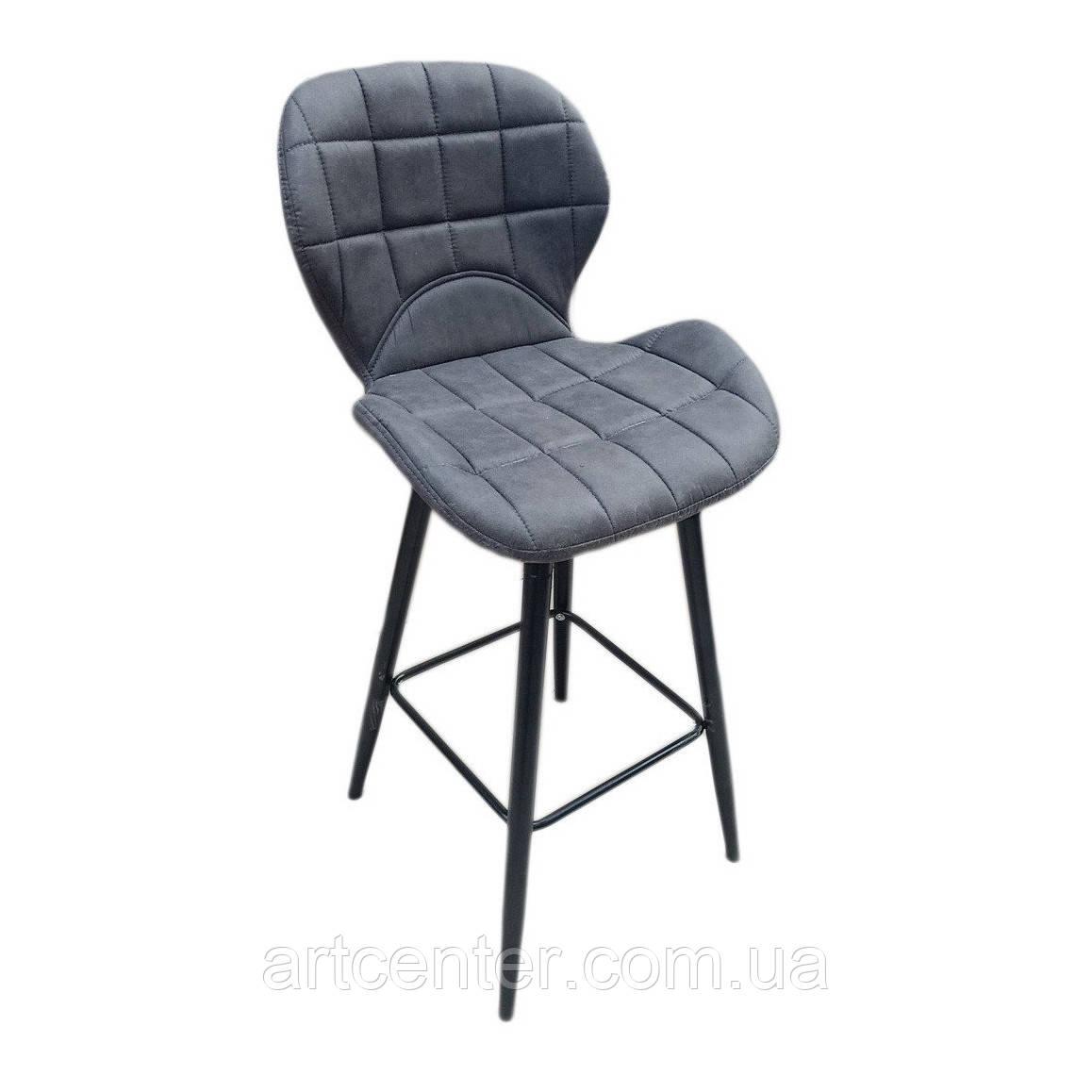 Стул барный Дайм Н (Dime), металл черный, экокожа серого цвета