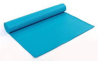 Коврик для йоги и фитнеса 4 мм, голубой