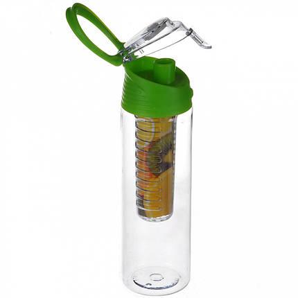Бутылка для напитков Water Bottle с колбой под фруктов (зеленая), фото 2