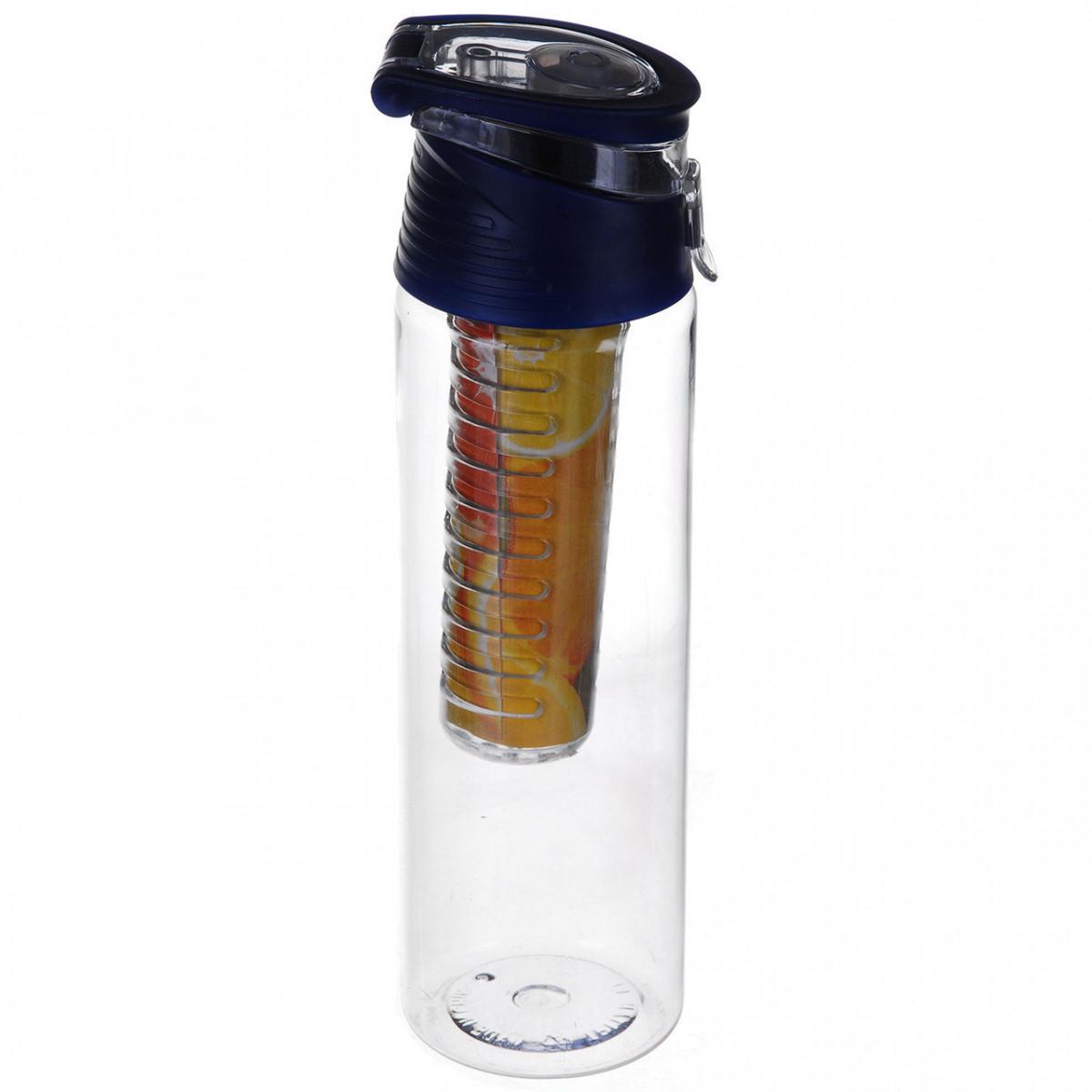 Бутылка для напитков Water Bottle с колбой под фруктов (синяя)