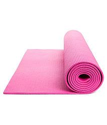 Коврик для йоги и фитнеса 4 мм, розовый