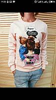 Батник женский мама с двумя дочками светло-розовый