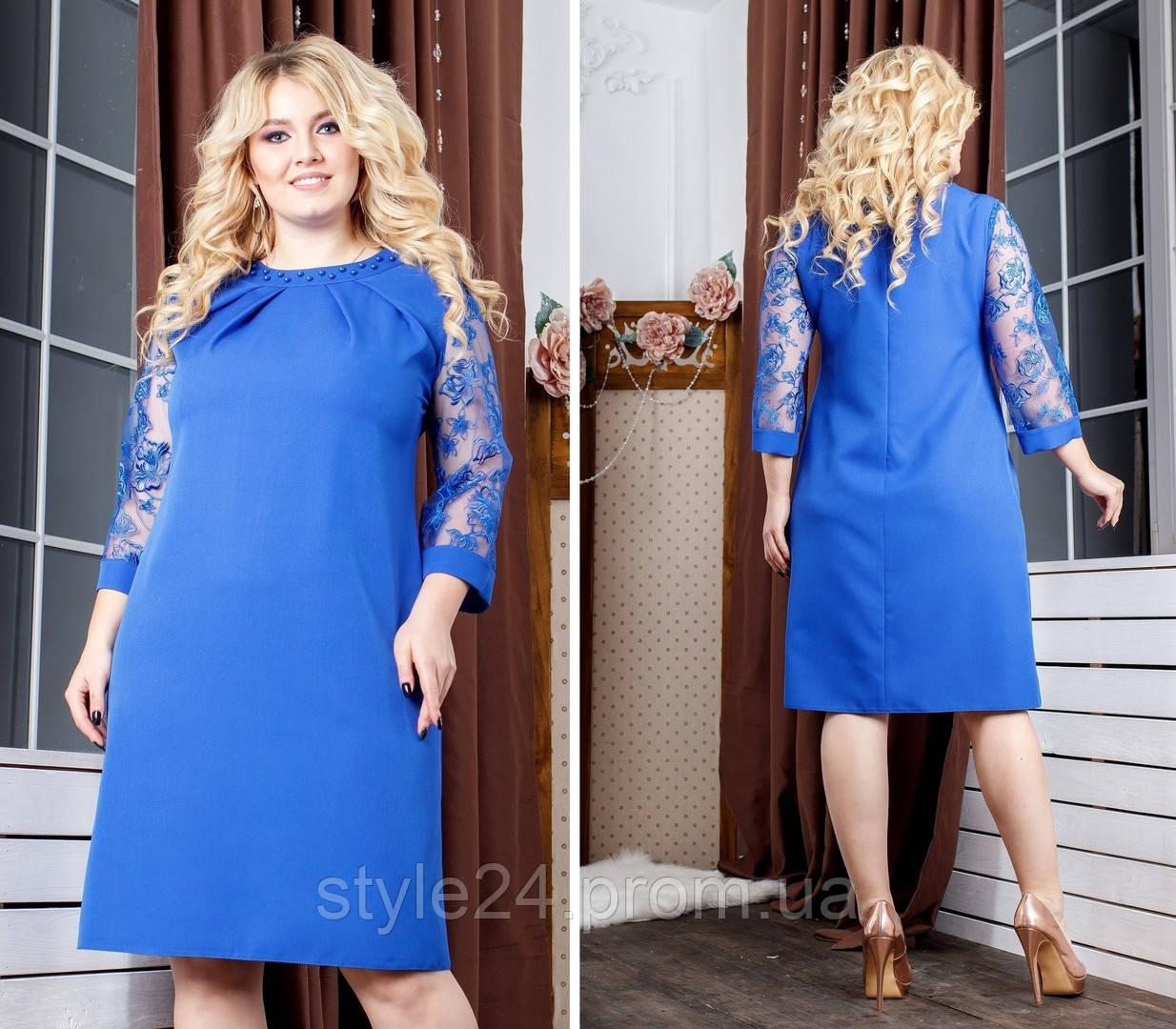 Батальне плаття з кружевними рукавами,3 кольори. Р-ри 50-58