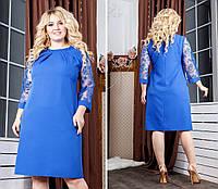Батальне плаття з кружевними рукавами,3 кольори. Р-ри 50-58, фото 1