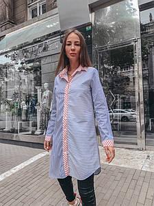 Удлиненная женская хлопковая рубашка в полоску 33rz281