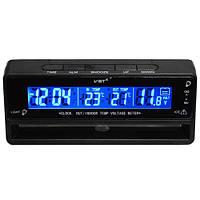 Автомобильные часы VST-7010V термометр + вольтметр, авточасы