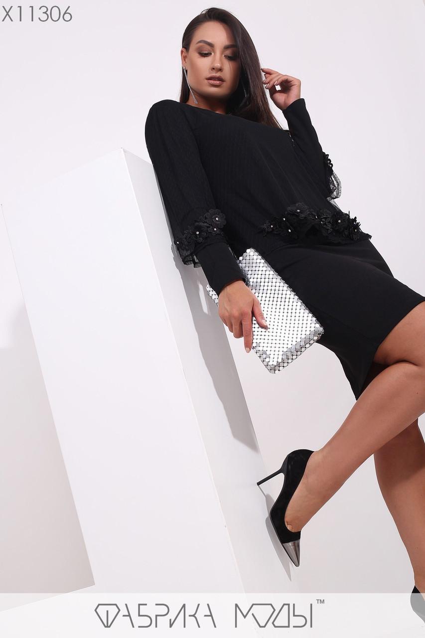Платье - футляр в больших размерах с накидкой из сетки сверху и аппликацией 1uk179