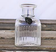 Ваза Монстера прозрачное h12см лакированное стекло Гранд Презент 1016385-2 куб прозр, фото 1