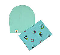 Комплект шапка и шарф-снуд с рисунком Микки Маус