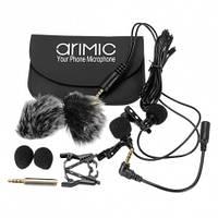 Петличный микрофон двойной AriMic Dualmic c 1.5 м кабелем штекером 3,5 мм совместим со всеми устройствами