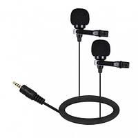 Петличный микрофон двойной AriMic Dualmic с 6 м кабелем совместимость со всеми устройствами 3,5 мм разъем
