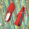 Мокасины женские замшевые на утолщенной подошве, цвет красный, фото 3