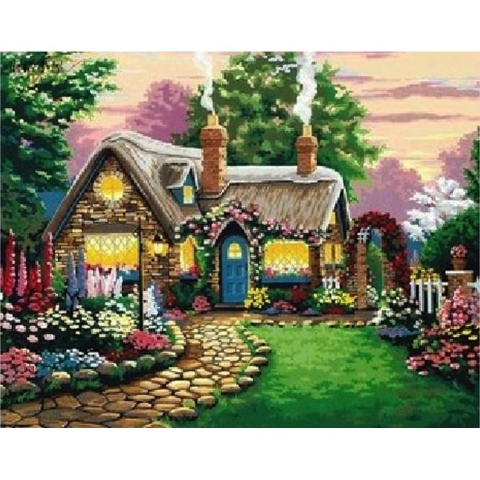 """Картина по номерам. """"Маленький сказочный домик"""" 40*50см KHO047"""