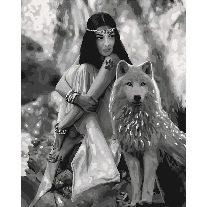 "Картина по номерам.""Волчица"" 40*50см KHO4139"