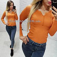 Женская кофта полувер рубчик ткань коттон 70% вискоза 25% эластан 5% цвет оранжевый