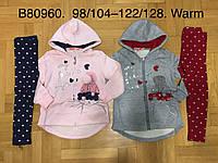 Трикотажный утепленный костюм 2 в 1 для девочек оптом, Grace, 98/104-122/128 см,  № G80960, фото 1