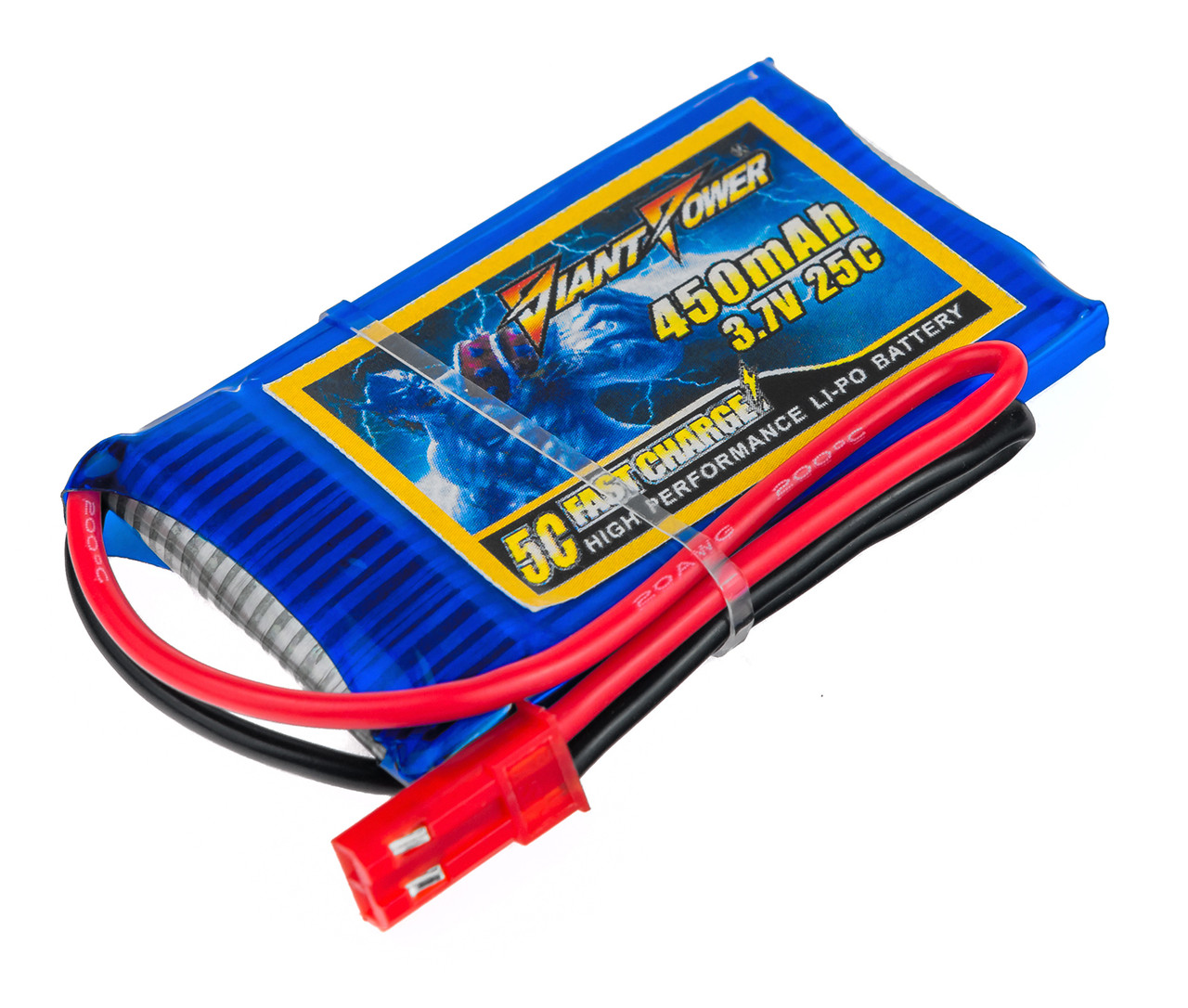 Аккумулятор Giant Power Li-Pol 450mAh 3.7V 1S 25C 4.5x30x53мм JST