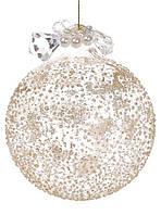 """Новогодний шар стекло """"Лед"""" елочный шар , 8см с декором из бусин, цвет - шампань, набор 12 шт"""