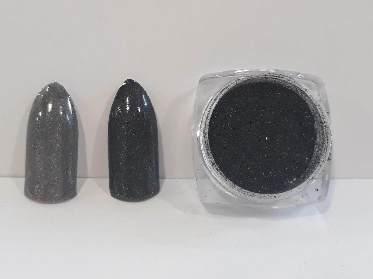Новинка! Втирка для дизайна ногтей с микроблестками(черный)