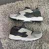 Кроссовки мужские в стиле Nike Huarache серые с черными вставками, фото 2