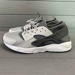 Кроссовки мужские в стиле Nike Huarache серые с черными вставками