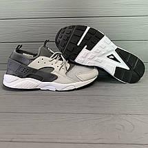 Кроссовки мужские в стиле Nike Huarache серые с черными вставками, фото 3