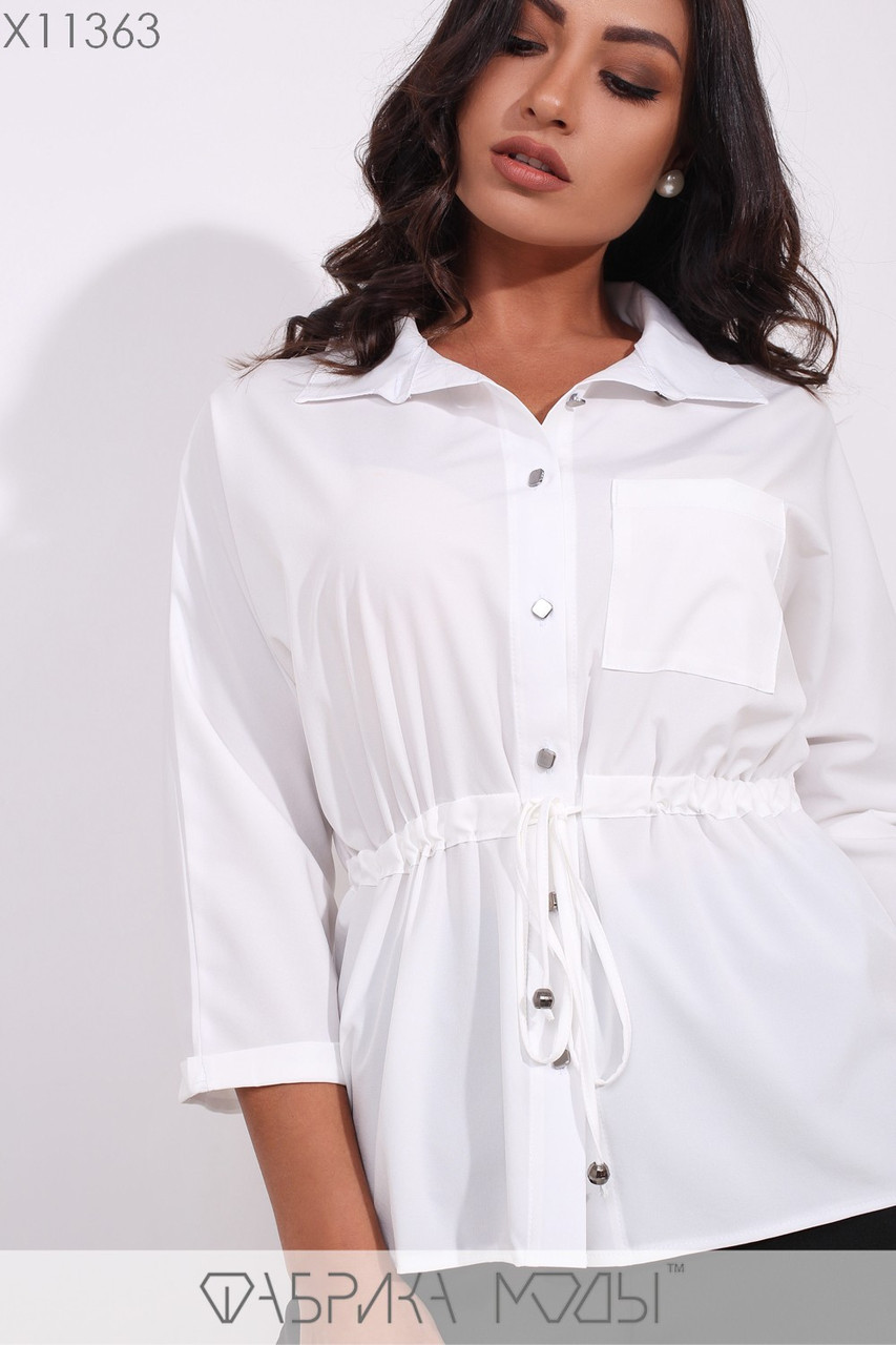 Женская рубашка в больших размерах с кулиской на талии и карманом на груди 1blr171