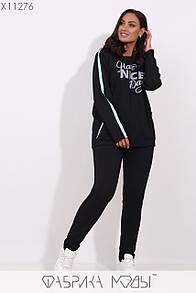 Женский спортивный костюм в больших размерах из трикотажа с прямой кофтой и брюками на резинке 1blr180