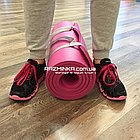 Каучуковый коврик для фитнеса NBR 1800х600х12мм, розовый, фото 4