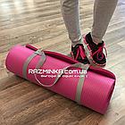 Каучуковый коврик для фитнеса NBR 1800х600х12мм, розовый, фото 2