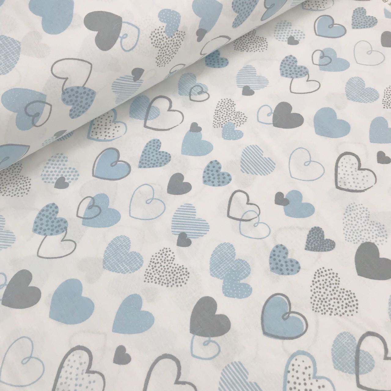 Хлопковая ткань (ТУРЦИЯ шир. 2,4 м)сердца серо-голубые