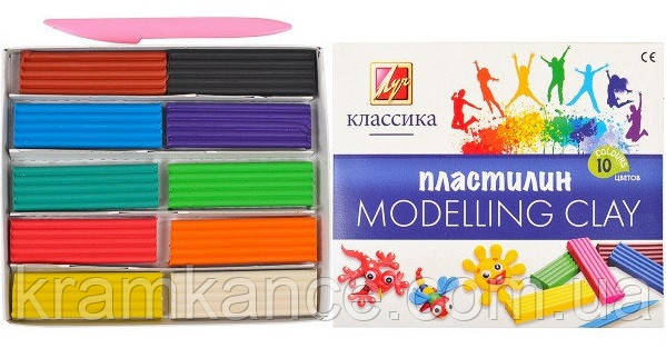 """Пластилін Промінь 10кол. 200гр """"Класика"""" 304-08, фото 2"""