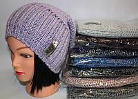 Вязаная шапочка на флисе с трендовым мерцанием, полушерсть,  рр 56-59