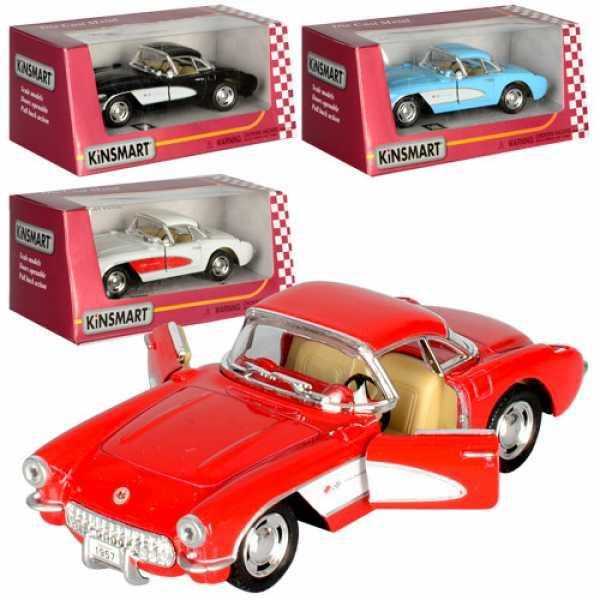 Машинка KT5316W (Chevrolet Corvette 1957) инер,12см,1:34,откр.двер,рез.колеса,4цвета,в кор,16-8-7см