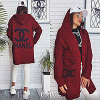 Бордовый женский кардиган в стиле Chanel
