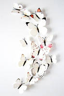 Набор бабочек с магнитом 12 шт (бежевые  тона)