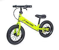 Велобег Scale Sports с дисковым тормозом, деткам от 2 лет. Салатовый